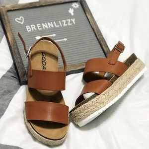 "New! Sandals Wedges Tan 2 Strap 2"" Heel Espadrille"